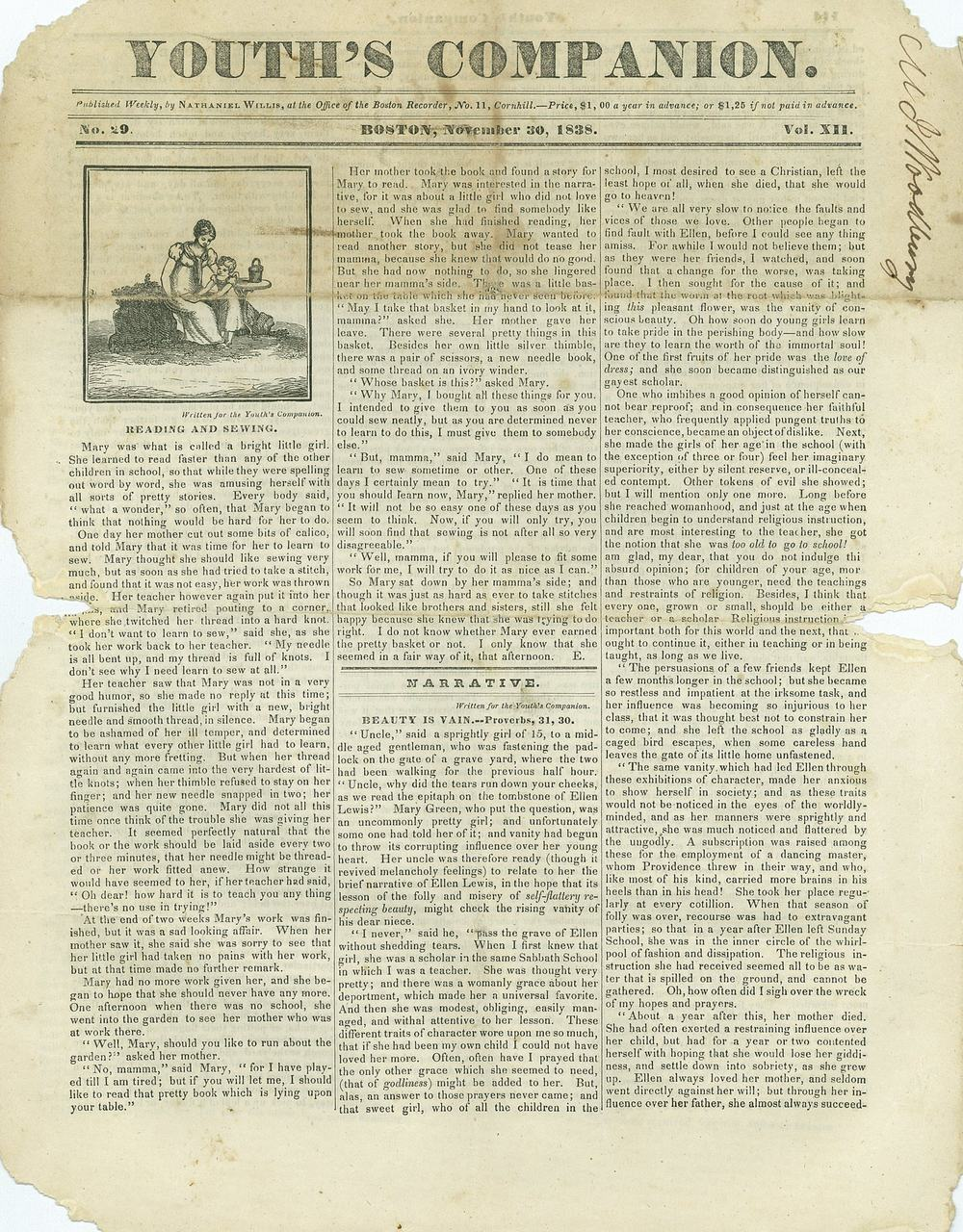 The Youth's Companion - November 30th, 1838 - Vol. 12 - No. 29